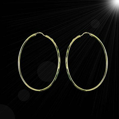 Sexy large yellow gold hoop earrings with faceted edges M-F