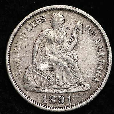 1891 Seated Liberty Dime CHOICE XF+ FREE SHIPPING E262 ACH