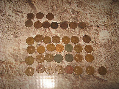 US Coin Coins Penny Cent Lot Indian Head & Grain of Wheat Circulated