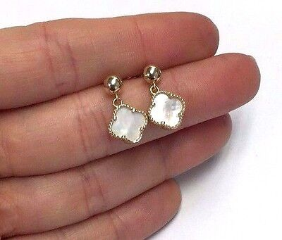 NEW | 14k Yellow Gold Mother of Pearl Clover Flower Drop Dangling Earrings