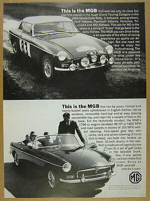 1964 MG MGB monte carlo rally car & convertible photos vintage print Ad