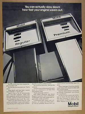 1969 Mobil oil Detergent Gasoline regular & premium gas pumps photo vintage Ad