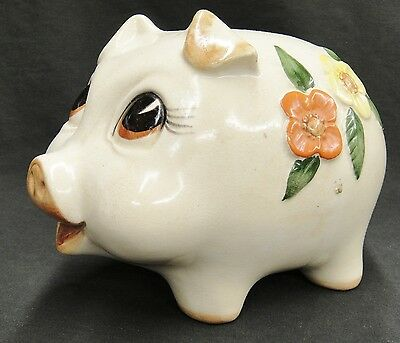Vintage Piggy Bank Yellow and Orange Flowers Crazing Flaws 6x8 With Stopper