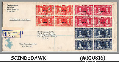 Niue / New Zealand - 1937 Kgvi Coronation - Blk Of 4 - 3V-  Fdc Registered