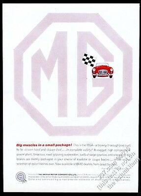1959 MG M.G. MGA red car in big octagon logo vintage print ad