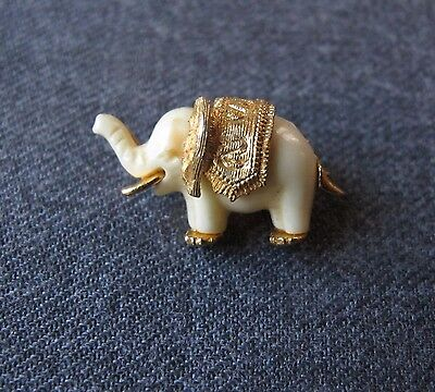 Vintage Creamy Plastic &  Gold Plated Elephant Pin