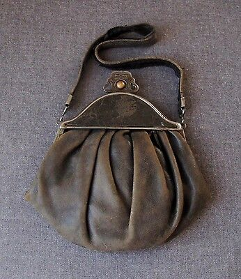 Antique Victorian Decorated Clasp & Frame Genuine Leather Purse Bag