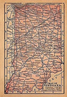1888 Antique INDIANA Map RARE MINIATURE Vintage Indiana State Map 3456