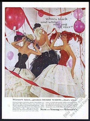 1960 Warner's lingerie 3 women in Merry Widow & masks color photo vintage ad