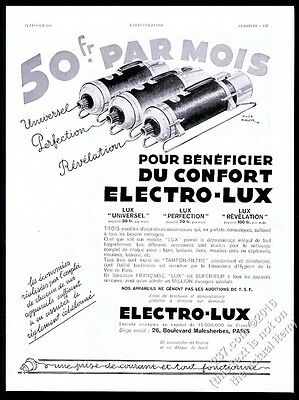 1933 Electro-Lux vacuum cleaner 3 models illustrated French vintage print ad