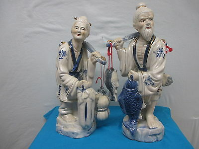 """2 piece Oriental Asian Fishing Couple Large Porcelain Figurines 16½"""" tall"""