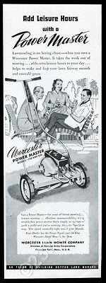 1948 Worcester power lawn mower photo vintage print ad
