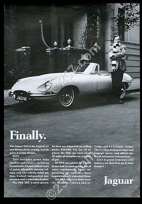 1968 Jaguar XKE XK-E roadster convertible car photo vintage print ad