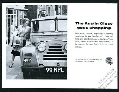 1961 Austin Gipsy and shopping woman photo vintage print ad