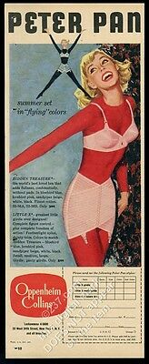 1957 Peter Pan lingerie bra girdle smiling woman in red vintage print ad
