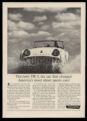 1961 Triumph TR-3 TR3 car splashing in water photo vintage print ad