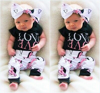 3pcs Newborn Baby Boy Girl Romper Tops Long Pants Headband Outfit Set Clothes US