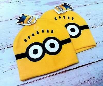 2 New Youth Minions Movie Beanie Knit Cap Winter Kids Hat