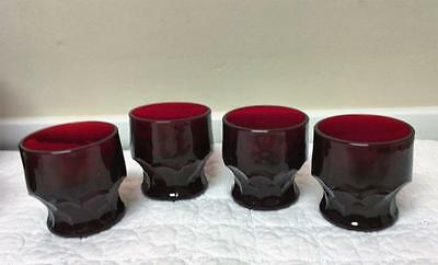 4 Vintage Royal Ruby Red 4 oz Juice Glasses Anchor Hocking Georgian Honeycomb