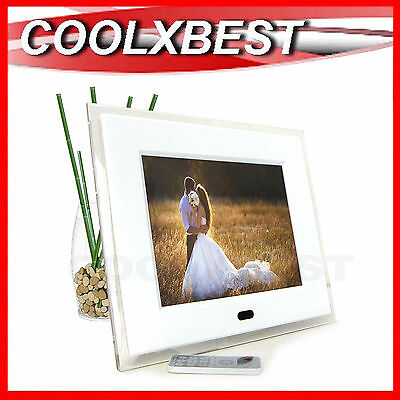 "AVLABS 10.4"" CRYSTAL WHITE DIGITAL PHOTO FRAME VIDEO & MUSIC w ALARM CLOCK"