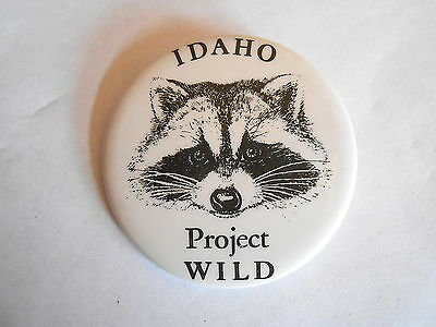 Vintage Idaho Project WILD Conservation Education Program Raccoon Pinback Button