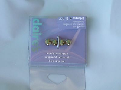 Claire's Anti Dust Plug  Bling Gold Spikes USA SELLER Iphone 4 and 4S