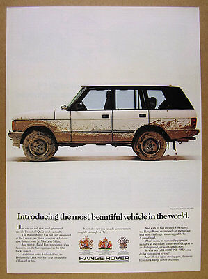1987 Range Rover Classic mud splattered color photo vintage print Ad
