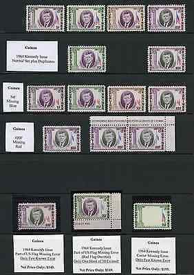 Guinea 1964 Kennedy MNH UNIQUE ERRORS COLLECTION OF RARE & VALUABLE ITEMS