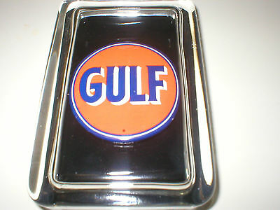 Gulf Oil Gas Station Colorful Orange Advertising Sign Logo Glass Paperweight