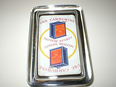 Carburine Motor Oil Can Truck Car Gas Station Advertising Sign Glass Paperweight