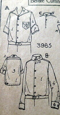 RARE VTG 1920s BOYS SHIRT Sewing Pattern 12 OLD DEADSTOCK
