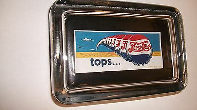 Pepsi Cola Topps Soda Pop Bottle Caps Advertising Drink Sign Glass Paperweight