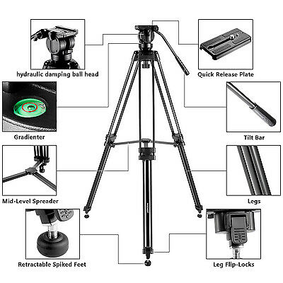 """Neewer 61"""" Aluminum Tripod with 360 Degree Fluid Drag Head for Video Camcorder"""