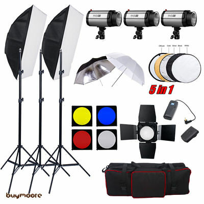 750w Flash Kit Studio Photography Strobe Light photo collapsible Reflector AU