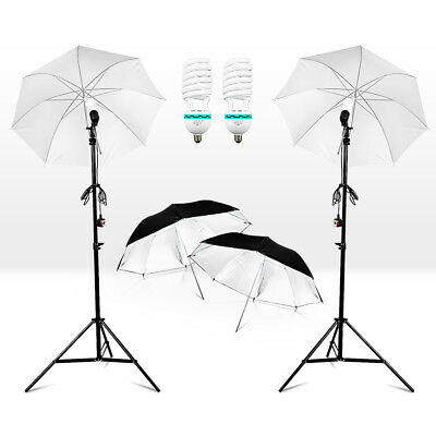 "2x 33""inch Soft White Umbrella Photography Lighting Stand 125W Bulbs Light AU"