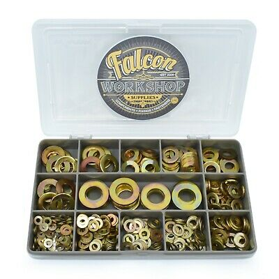 385 Piece Zinc Yellow M3 M4 M5 M6 M8 M10 M12 From A Washers Flat Washer Kit