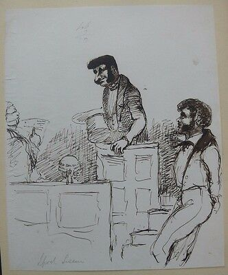 """Victorian Crime """"Liverpool Sessions"""" c.1840's Pen & Ink Drawing by John Paget?"""