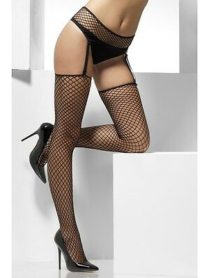 Lattice Net Fishnet Hold-ups Stockings with Suspender Belt Tights Ladies