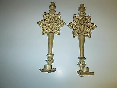 Vintage Pair Medieval Gothic Cast Metal Candle Holder Wall Sconce