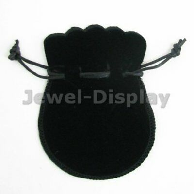 10 Deluxe Black Thick Velvet Oval Jewellery Pouches Party Gift Bag 9 x 12 cm