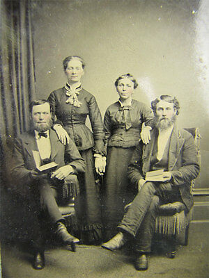 Antique Medium Sized Tintype Photo of Men+Wives Tinted