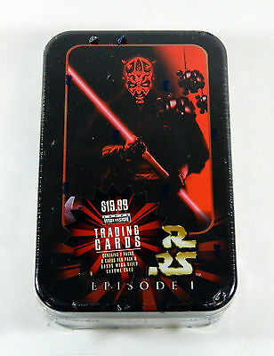 1999 Topps Star Wars Episode I Widevision Sealed Tin  7 Packs + Mega Chrome