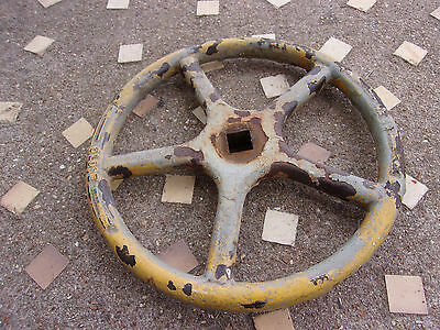Vintage Old Cast Iron Handle Wheel Steam Punk Lamp Table Make do Round Boiler