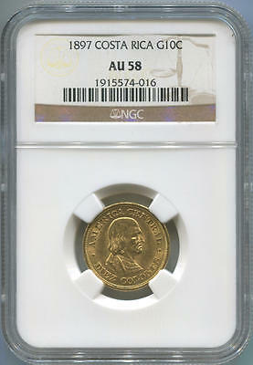 1897 Costa Rica Gold 10 Colones. NGC AU58