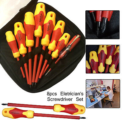 8Pcs Engineer Mechanic Electricians Fully Insulated Screwdrivers Set + Test pen