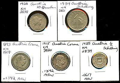 Lot of 5 Austria Assorted Coins #98164 R