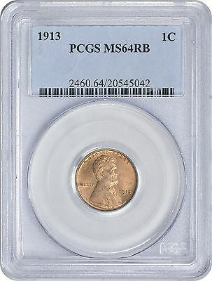 1913 Lincoln Cent MS64RB PCGS