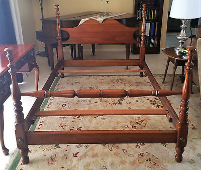 Antique Full Size Solid Stickley Cherry Valley Turned Four Poster Bed