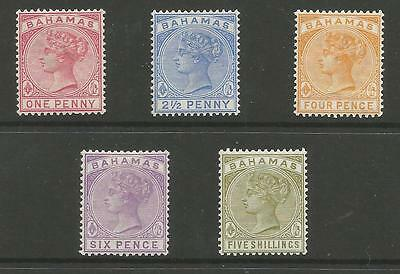 Bahamas Sg47-56  The 1884-90 Qv Set To 5/- Fresh Mounted Mint Cat £125 Minimum