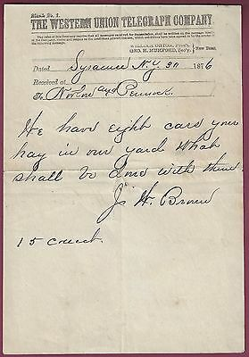 Vintage Western Union Telegram, Handwritten, Syracuse, NY, 1876
